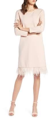 Halogen Ponte Feather Trim Shift Dress