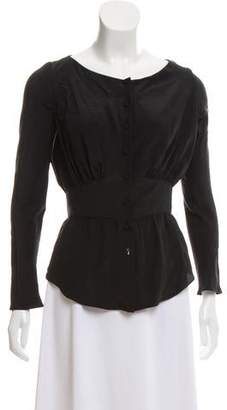 Zac Posen Long Sleeve Button-Up Top