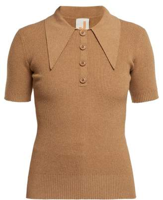 Joostricot - Ribbed Short Sleeved Polo Shirt - Womens - Light Brown