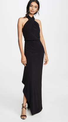 Halston Cross Neck Crepe Gown