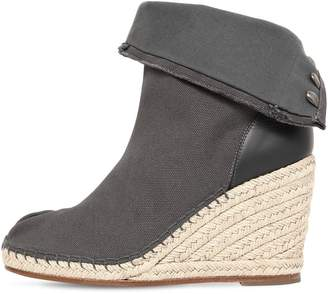 Maison Margiela 80mm Tabi Cotton Canvas Wedged Boots