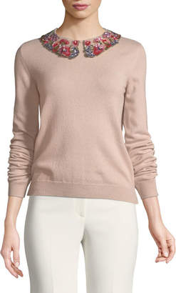 Valentino Long-Sleeve Cashmere Sweater with Floral-Sequined Collar