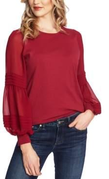 CeCe Sheer-Contrast Peasant-Sleeve Sweater