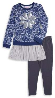 Flapdoodles Little Girl's Two-Piece Dress and Leggings Set
