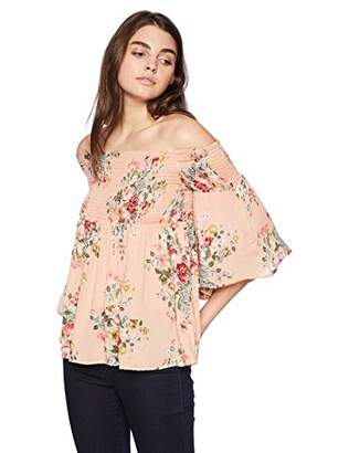 Angie Women's Smocked Off Shoulder Floral Print Top