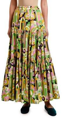 Double J Floral Print Tiered-Cotton Maxi Skirt