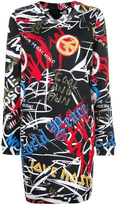 Love Moschino graffiti print fitted dress