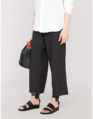 3.1 Phillip Lim Paper bag-waist cropped wide-leg cotton-blend trousers
