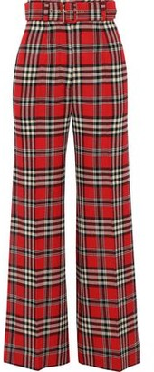 Emilia Wickstead Belted Checked Knitted Wide-leg Pants
