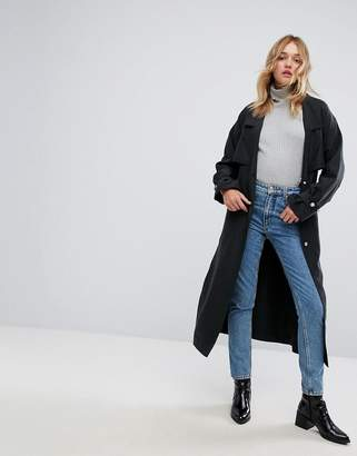 Monki Button Front Belted Coat