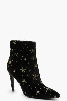 boohoo Velvet Glitter Star Pointed Toe Shoe Boots