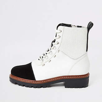 River Island White contrast leather lace-up hiking boots