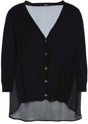 Raoul Chiffon-Paneled Silk And Wool-Blend Cardigan