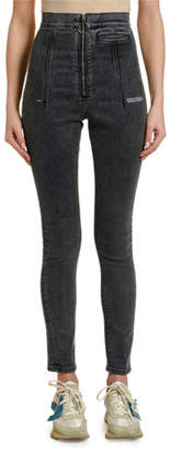 Off-White Ring-Zip High-rise Skinny Jeans