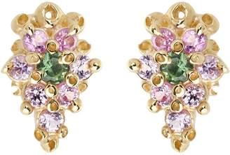 Ruta Reifen Pink Purple and Green Sapphire Flower Stud Earrings