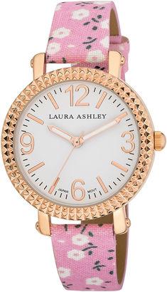 Laura Ashley Ladies Pink Floral Band Fluted Bezel Watch La31005Pk $295 thestylecure.com