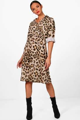 boohoo Luxe Satin Leopard Print Wrap Dress