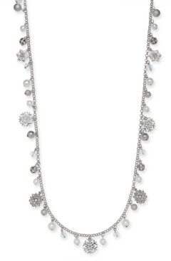 """Holiday Lane Silver-Tone Pave & Imitation Pearl Snowflake 36"""" Strand Necklace, Created For Macy's"""