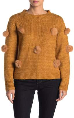 Cliche Rabbit Fur Pom Pom Knit Sweater
