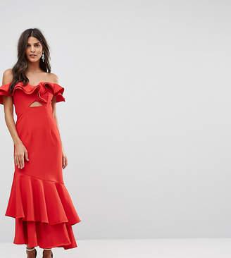 Jarlo Ruffle Bardot Maxi Dress With Cut Out