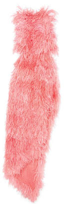 ATTICO Asymmetric Feathered Tulle Dress - Pink