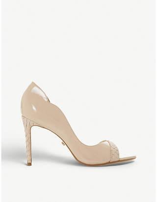 Dune Danieler snakeskin-effect trim peep toe sandals