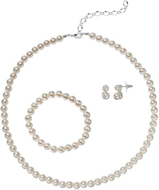 Croft & Barrow Simulated Pearl Necklace, Stretch Bracelet & Earring Set