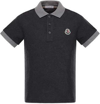 Moncler Two-Tone Short-Sleeve Polo Shirt, Size 8-14