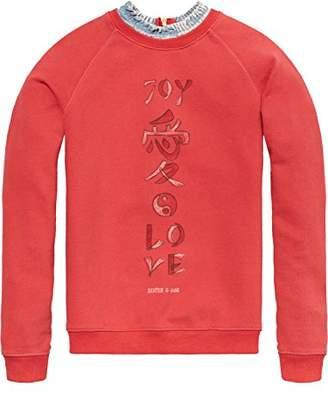 Scotch & Soda R ́Belle Girl's Soft Sweat with Denim Collar Sweatshirt,(Manufacturer Size: 10)