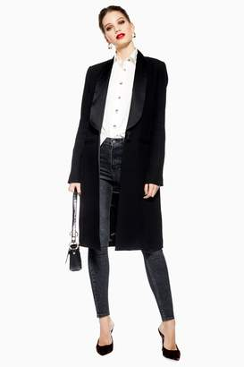 Topshop Womens Satin Trim Tuxedo Coat - Black