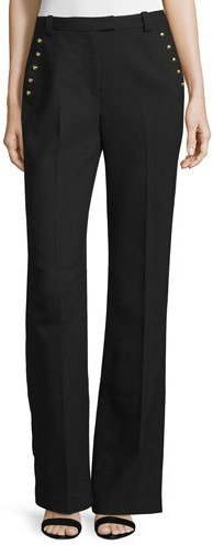 3.1 Phillip Lim 3.1 Phillip Lim Sailor-Button Flared Wool Pants, Black