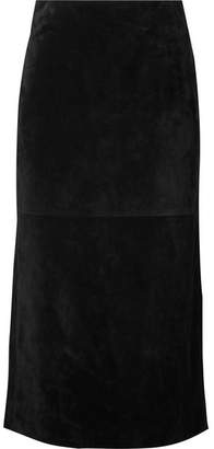 Saint Laurent Suede Midi Skirt - Black