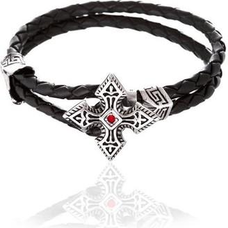 Generic Reinforcements Cubic Zirconia Silver-Tone Cross Loop Leather Bracelet in Stainless Steel