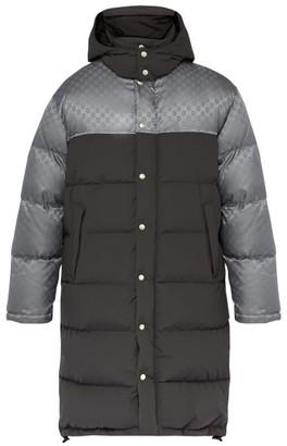 Gucci Logo Jacquard Down Filled Coat - Mens - Grey