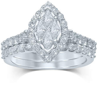 JCPenney MODERN BRIDE 1 CT. T.W. Fancy-Cut Diamond 14K White Gold Bridal Ring Set