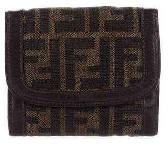 Fendi Leather-Trimmed Zucca Print Wallet