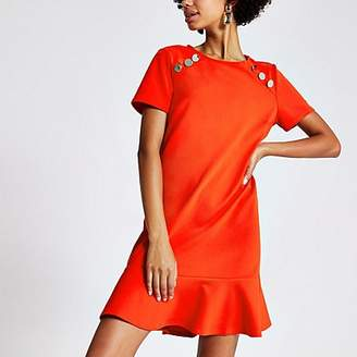 River Island Bright red short sleeve peplum shift dress