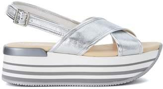 Hogan H294 Silver Metallic Leather Sandal