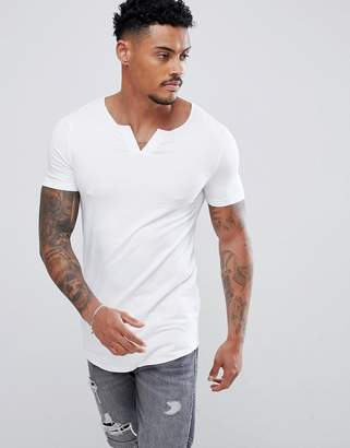 Asos DESIGN longline muscle fit t-shirt with notch neck and curved hem in white