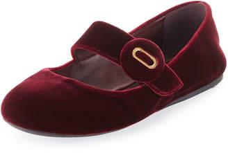 Prada Velvet Mary Jane Ballerina Flat, Dark Red