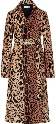 Victoria Beckham Belted Chenille-jacquard Coat - Brown