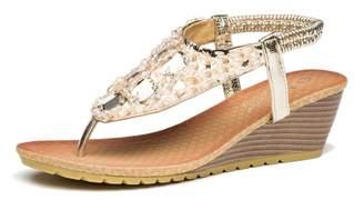 1a1d5df0e845 Bohemia Viihahn Women s Wedge Sandals Summer Fashion Medium Heel Thong  Beaded Slingback Platform Shoes Size 9