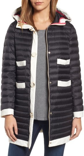 Women's Kate Spade New York Contrast Trim Hooded Puffer Coat
