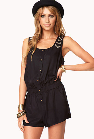 Forever 21 Studded Edge Satin Romper