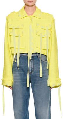 MSGM Cropped Boucle Jacket w/ Ribbon Trim