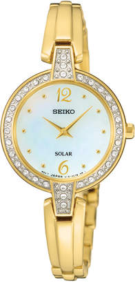 Seiko Women's Solar Gold-Tone Stainless Steel Bracelet Watch 27mm SUP290 $275 thestylecure.com