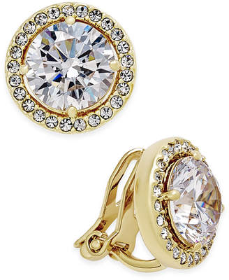 Macy's Danori Gold-Tone Bezel-Set Crystal Clip-On Earrings, Created for