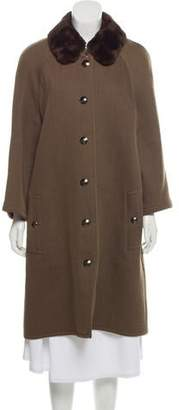 Chanel Fur Trim Wool Coat