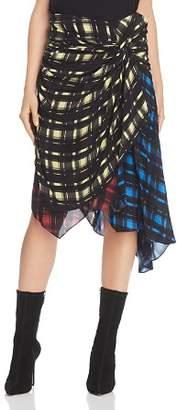 Preen Line Halu Mixed Grid Print Midi Skirt