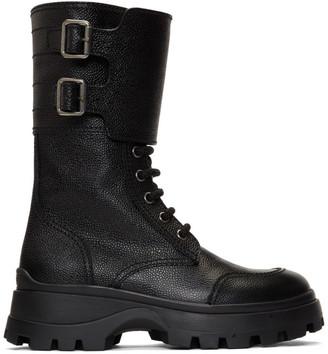 Miu Miu Black Military Combat Buckle Boot